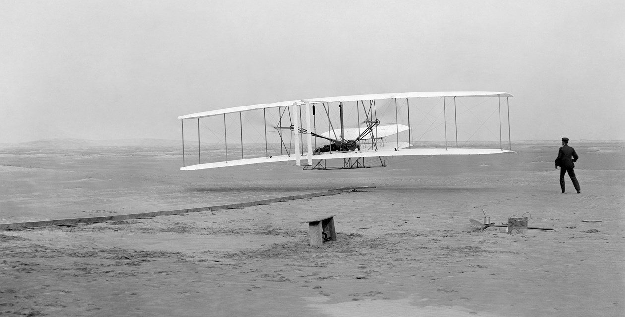 The first flight of the Wright Flyer on December 17, 1903. Credit: Library of Congress