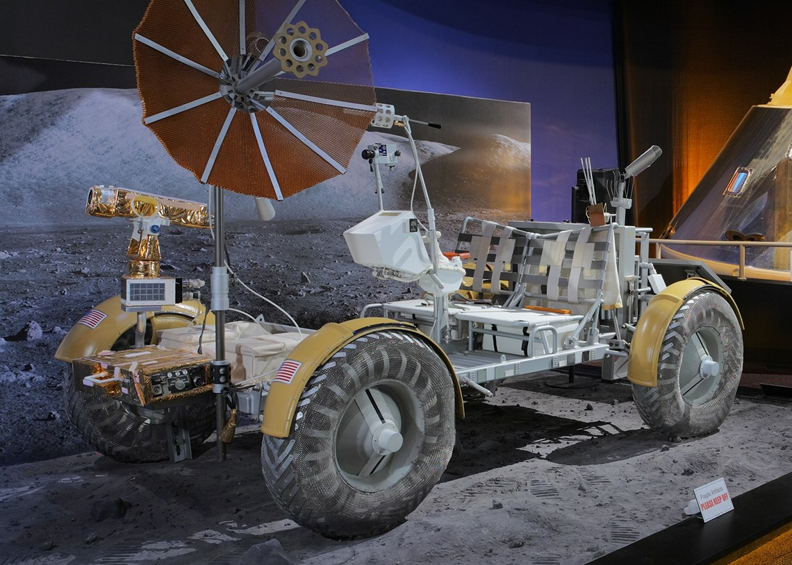 The Museum's Boeing Lunar Roving Vechicle Engineering Mock-up on display in the Lear Gallery