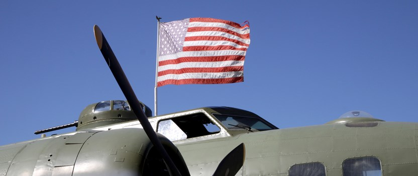 B-17 with American flag.