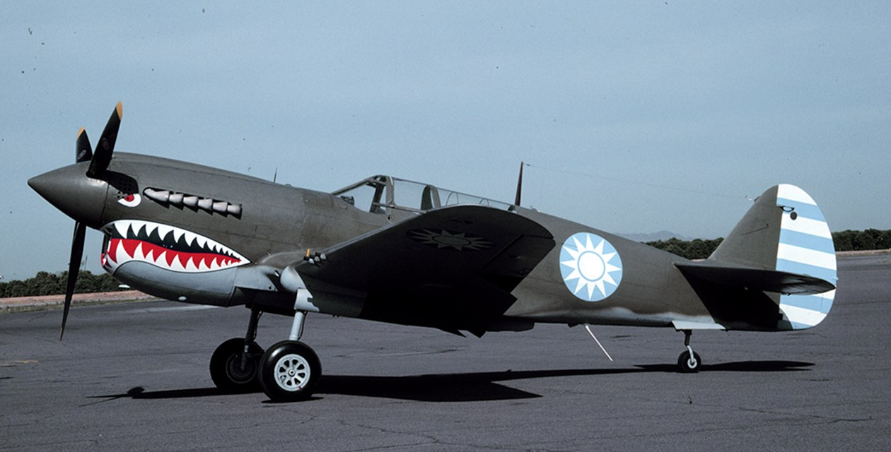The Museum's Curtiss P-40N Warhawk on the runway at Mesa