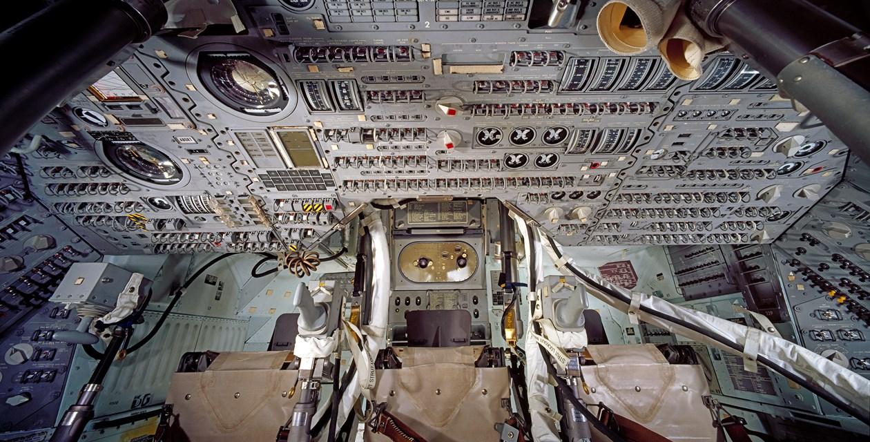 The interior of the Apollo 11 Command Module - Photo by Eric Long, National Air and Space Museum, Smithsonian Institution