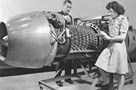 A Junkers Jumo 004 engine being investigated at the Aircraft Engine Research Laboratory in Cleveland, Ohio on March 24, 1946. Credit: NASA
