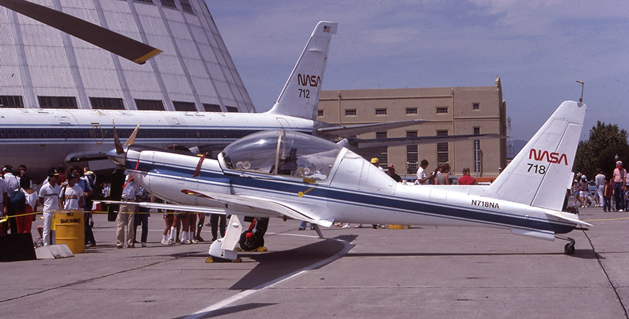 A NASA Lockheed YO-3A at Moffett Field in 1985
