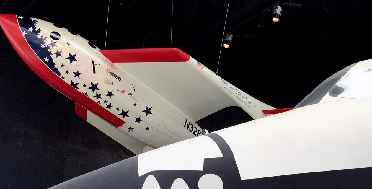 SpaceShipOne over shuttle trainer.