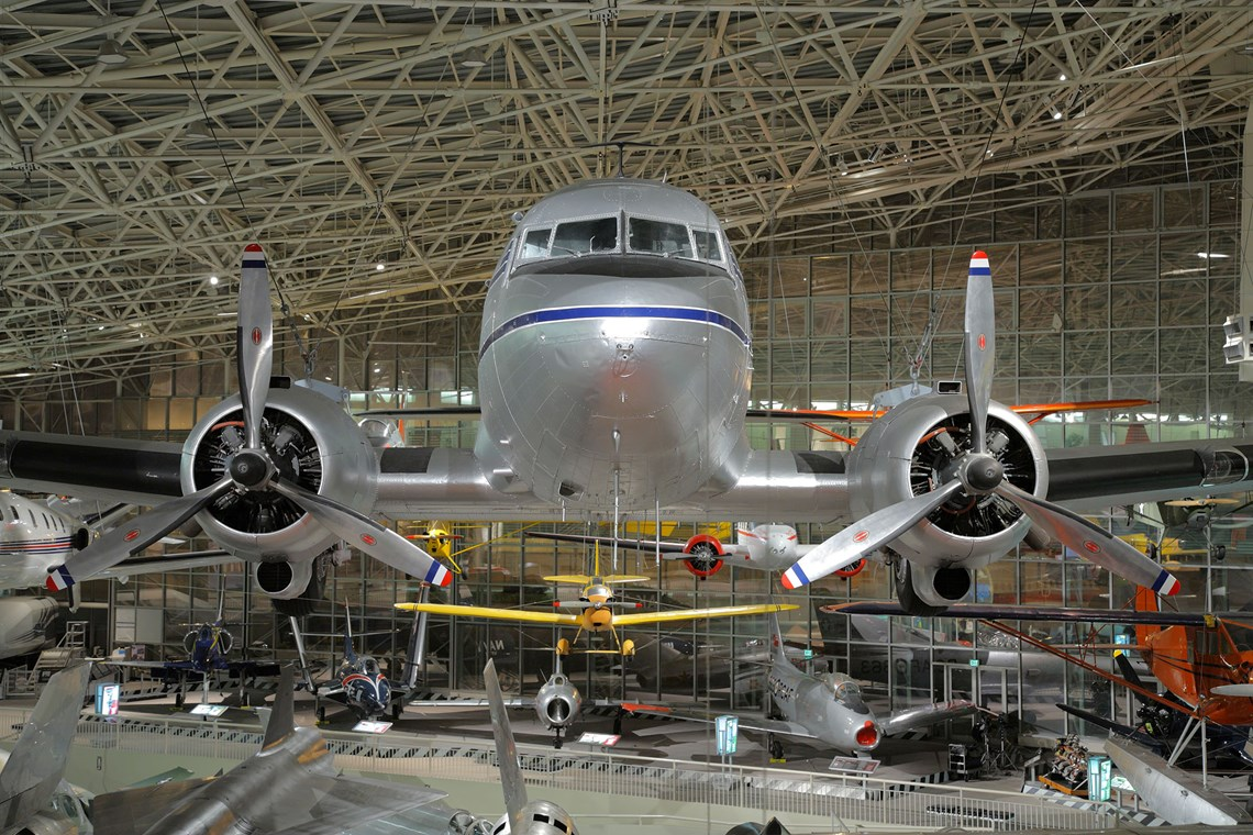 The Museum's Douglas DC-3 on display in the Great Gallery (Photo by Heath Moffatt)