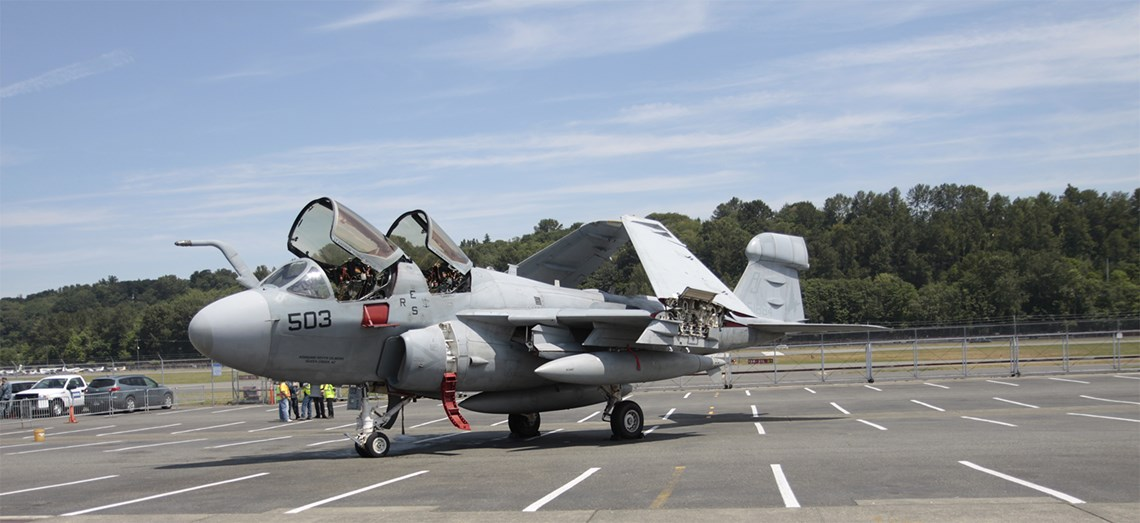 Grumman EA-6B Prowler upon arrival at The Museum