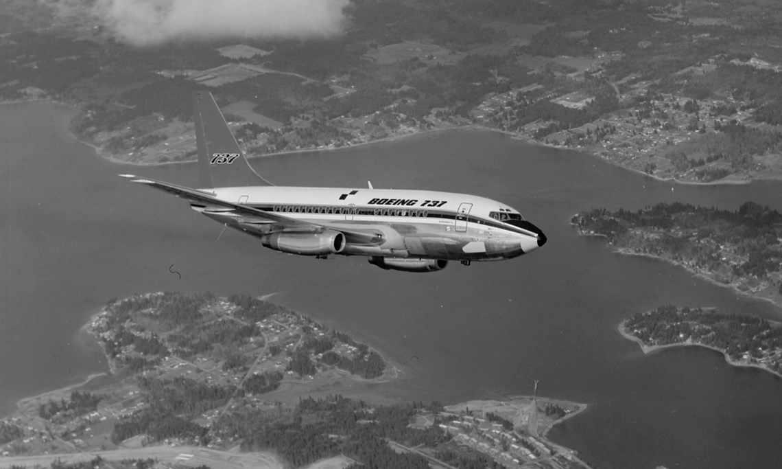 The Museum's Boeing 737-130 in flight in its original Boeing livery