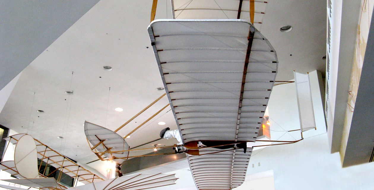 The Museum's Wright 1902 Glider Replica on display in the Lobby