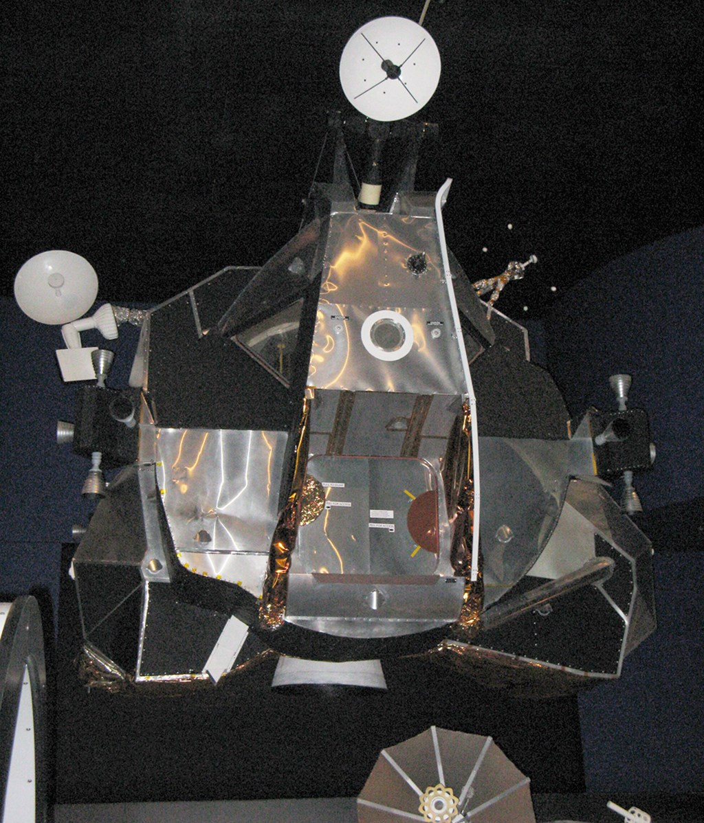 The Museum's Apollo 17 Lunar Module Mock-Up on display in the Lear Gallery