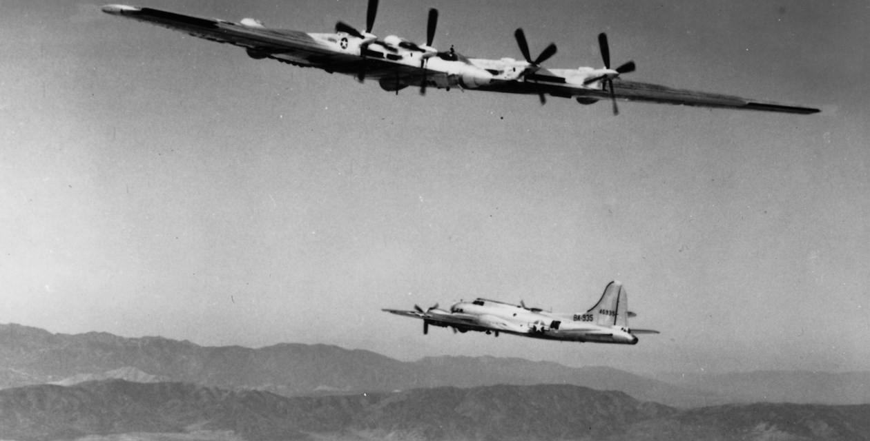 The Invisible Plane seen ecorting a B-17 and Flying Wing