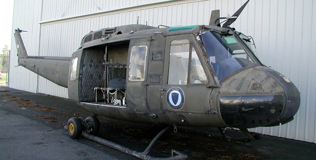 The Museum's Bell UH-1H Iroquois (Huey) at the Restoration Center