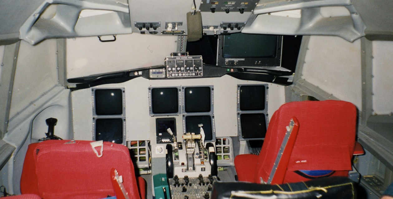 The rear cockpit of the Museum's Boeing 737-130