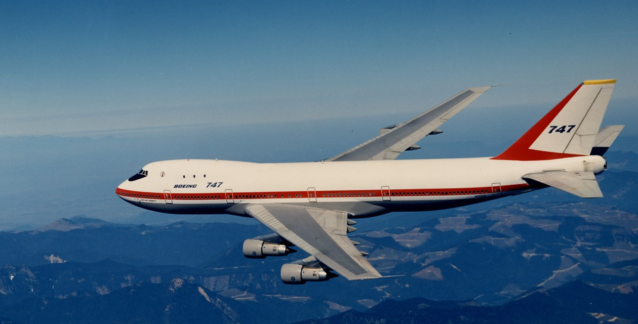 The Museum's Boeing 747-121 in flight over the Cascade Foothills