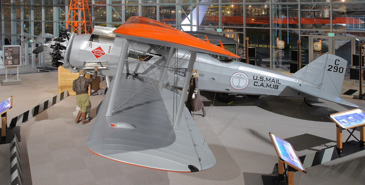 The Museum's Boeing Model 40B Reproduction on display in the Great Gallery (Photo by Heath Moffatt)