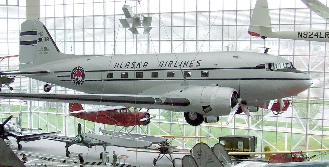 The Museum's Douglas DC-3 on display in the Great Gallery