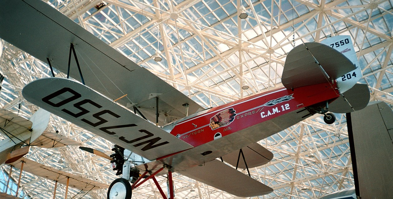 The Museum's Stearman C-3B on display in the Great Gallery