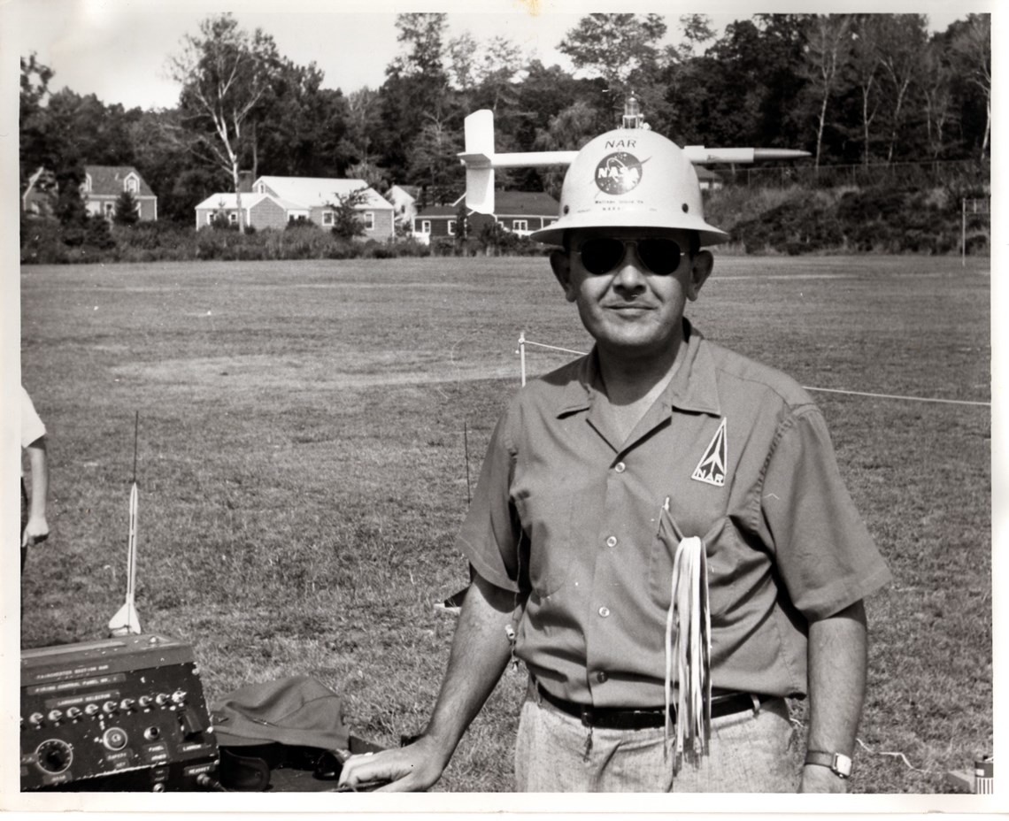 G. Harry Stine serves as range safety officer during an NAR launch.