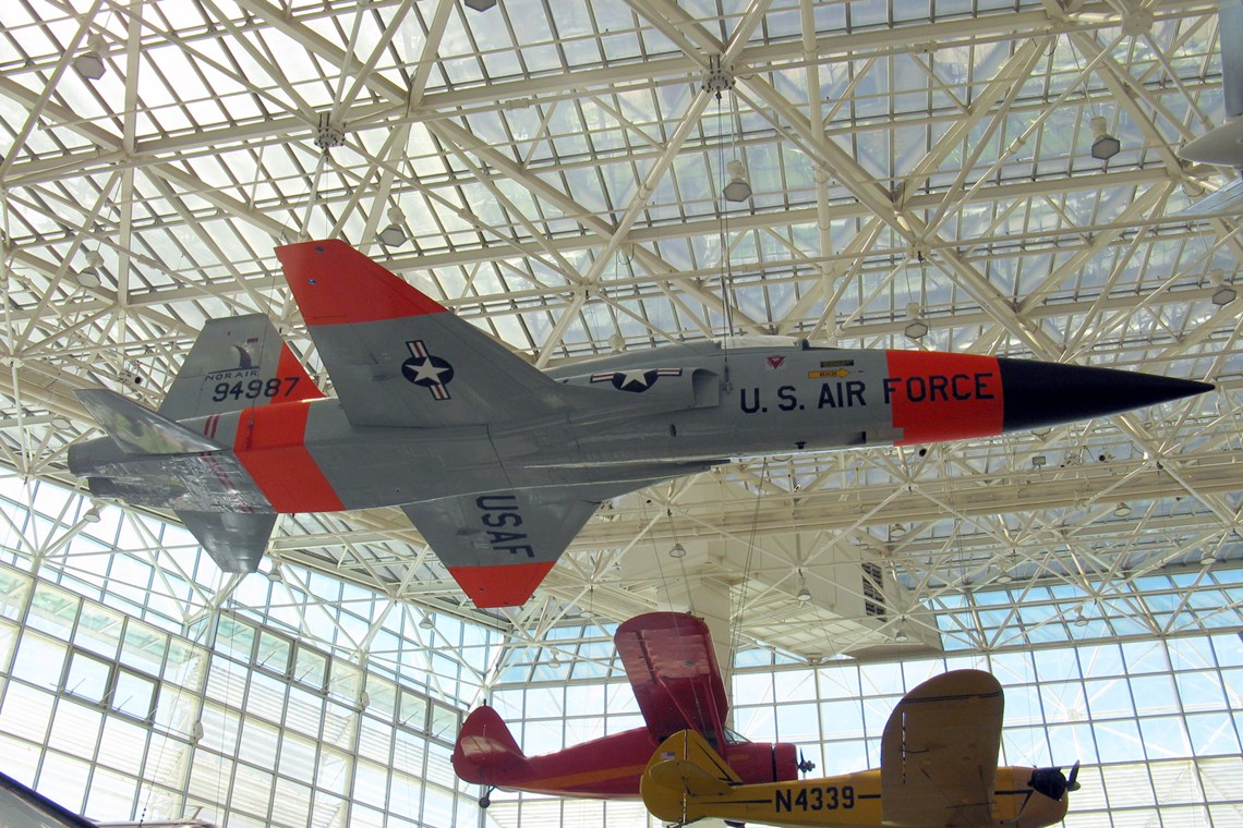 The Museum's Northrop YF-5A (N-156F) Freedom Fighter on display in the Great Gallery