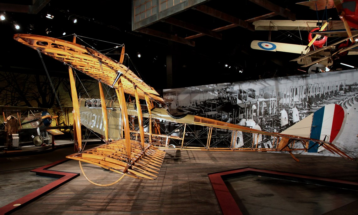 The Museum's Curtiss JN-4D Jenny Reproduction on display in the Personal Courage Wing