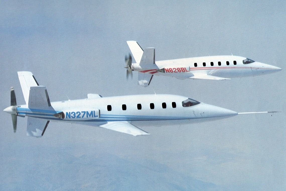 Two Lear Fans 2100 in flight