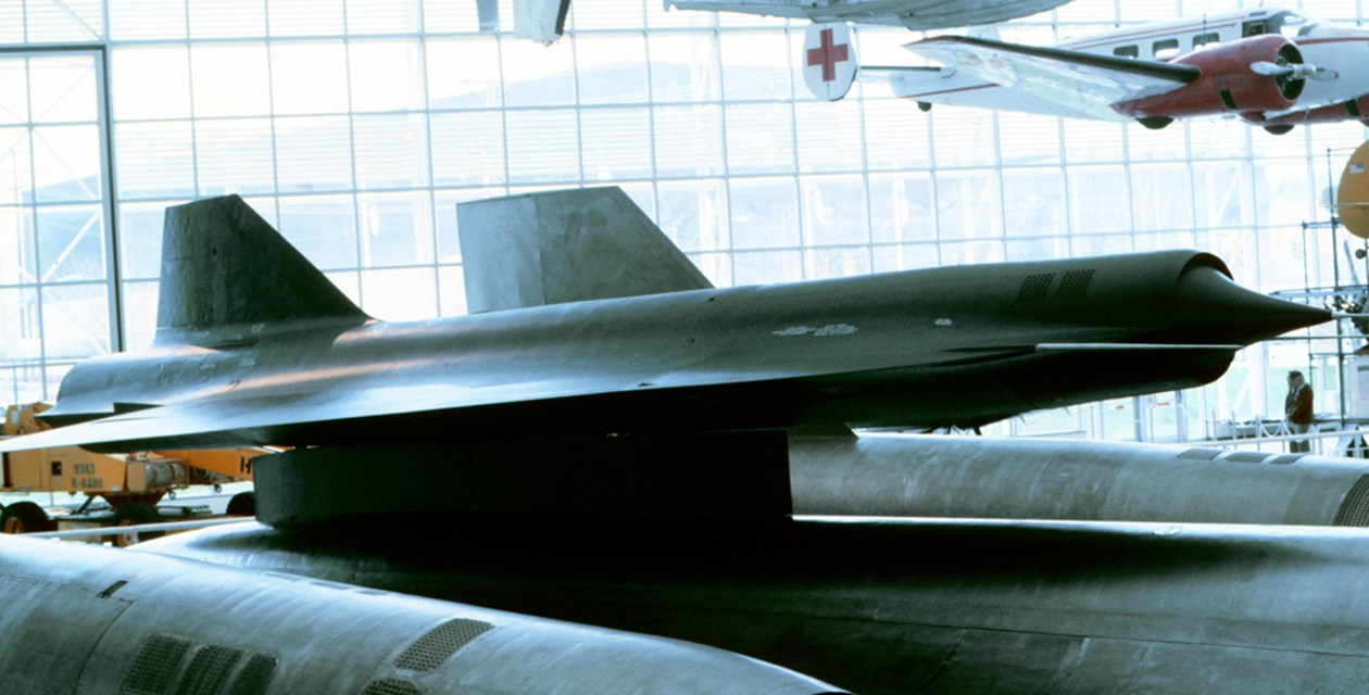 The Museum's Lockheed D-21B Drone, mounted on the M-21 Blackbird, on display in the Great Gallery