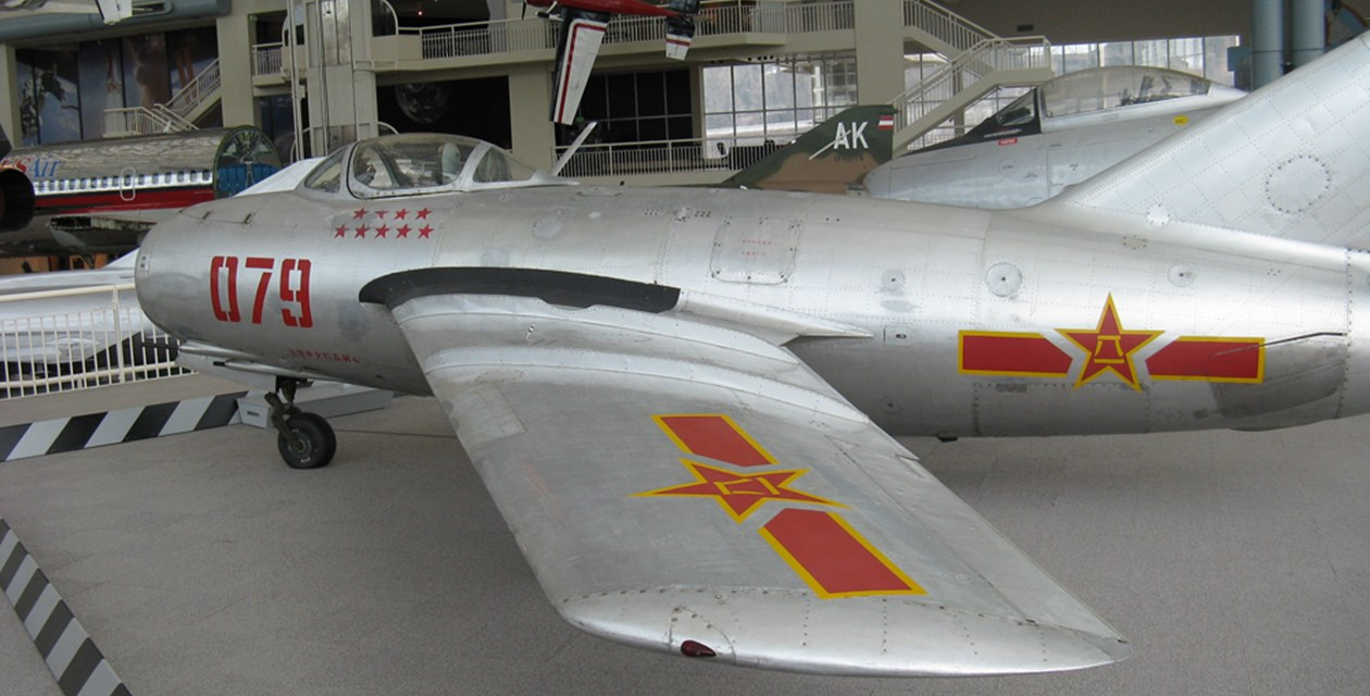 The Museum's Mikoyan & Gurevich MiG-15bis on display in the Great Gallery