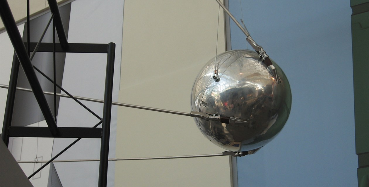 The Museum's Sputnik 1 on display in the Lear Gallery.