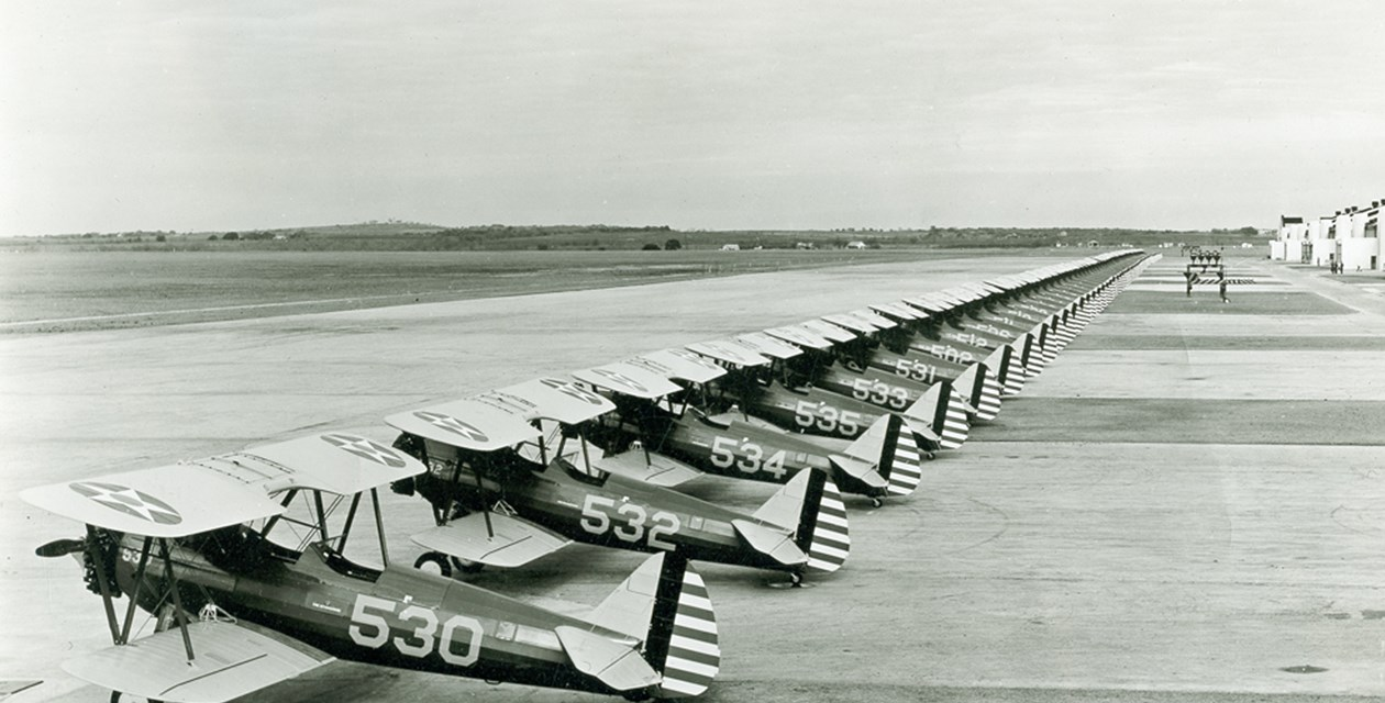 Stearman PT-13A Kaydets (A75) lined up at Randolph Field
