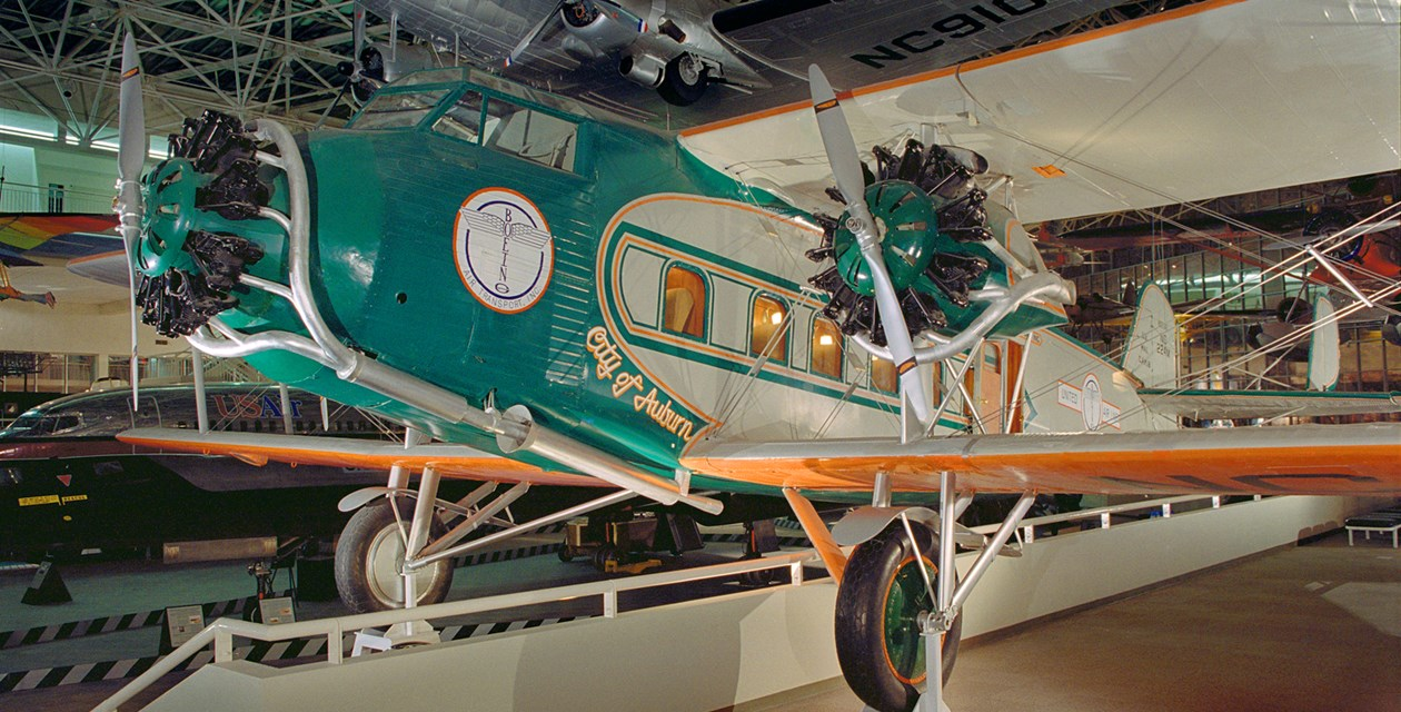 The Museum's Boeing 80A-1 on display in the Great Gallery (Photo by Heath Moffatt)