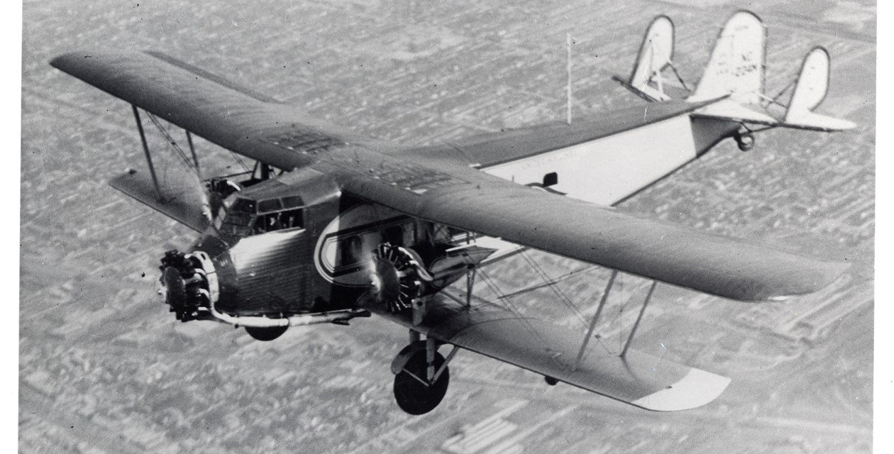 The Boeing Model 80 in flight.