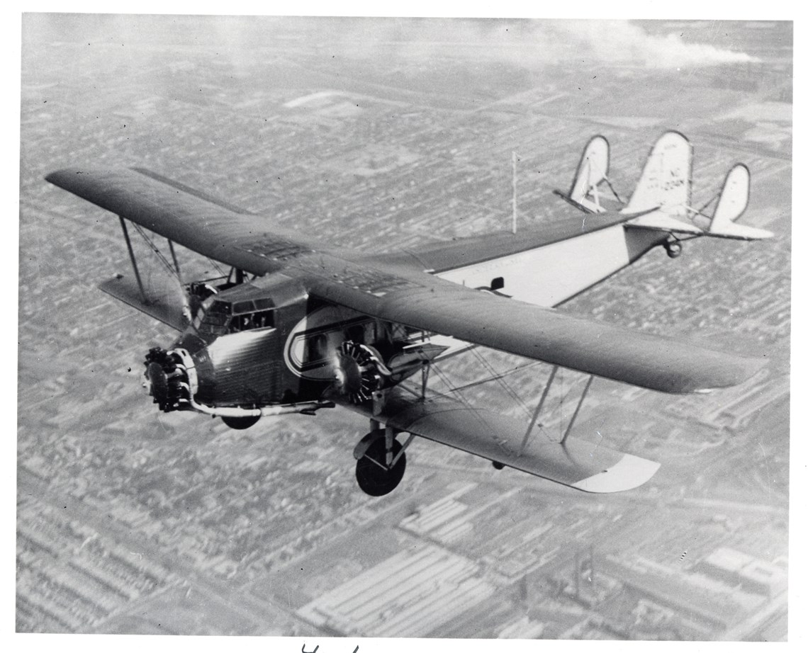 The Museum's Boeing 80A-1 in flight.