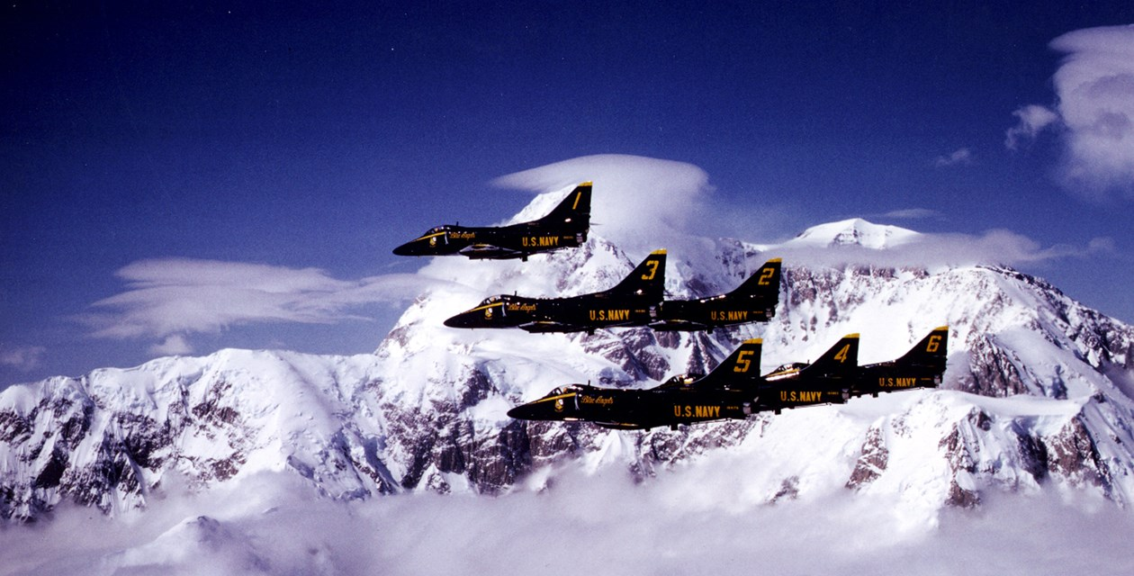 The Museum's Douglas A-4F Skyhawk II and the rest of the Blue Angels in flight