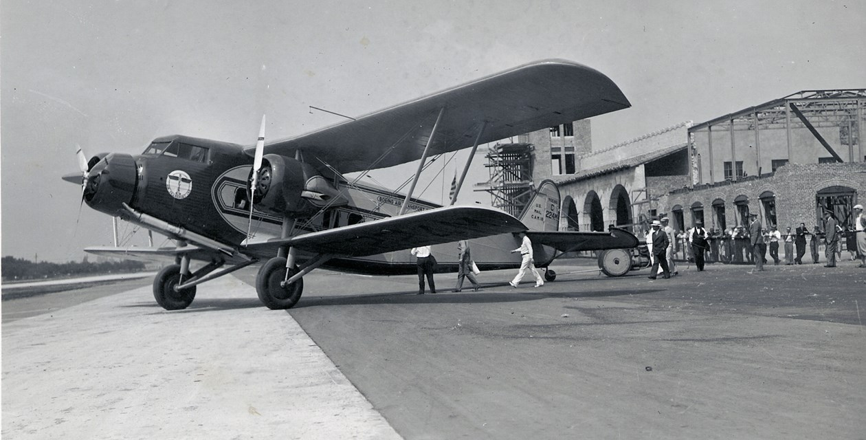 The Museum's Boeing 80A-1 at Grand Central Air Terminal in Burbank, California.