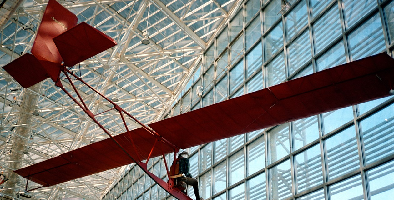 The Museum's Cessna CG-2 Glider on display in the Great Gallery