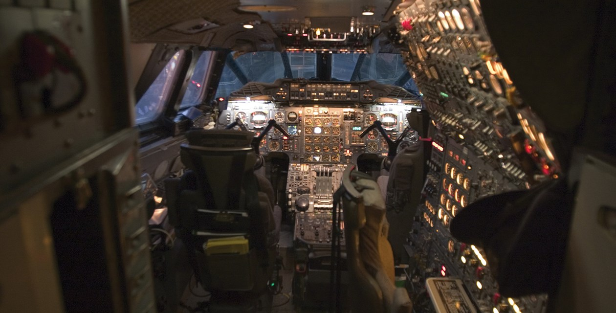The flight deck of Concorde G-BOAG at the time of its arrival at The Museum of Flight, 5 November 2003.  The flight engineer's seat is to the right, with the pilot's and copilot's seats directly behind the windshield.