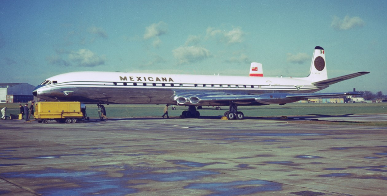 The Museum's deHavilland D.H. 106 Comet Mk. 4C in its Mexicana livery and British registration number