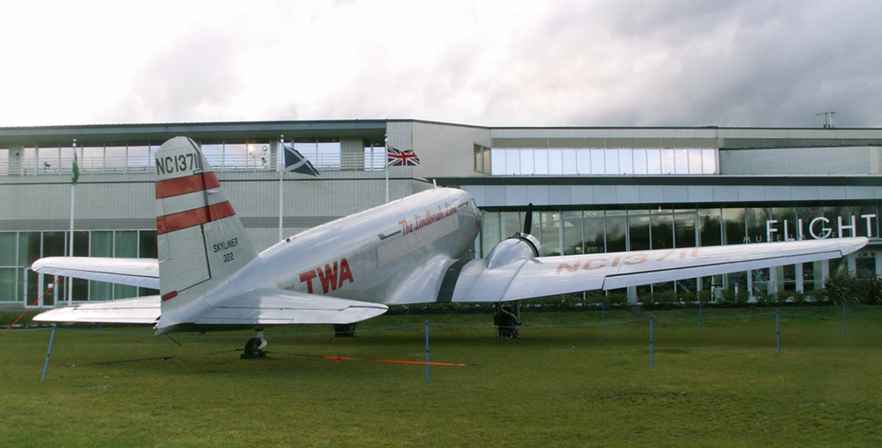The Museum's Douglas DC-2 on display on the East Lawn
