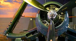 The Museum's Goodyear FG-1D Corsair on display in the Personal Courage Wing (Photo by Heath Moffatt)