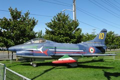 The Museum's Fiat G.91 Pan on display on the South Lawn