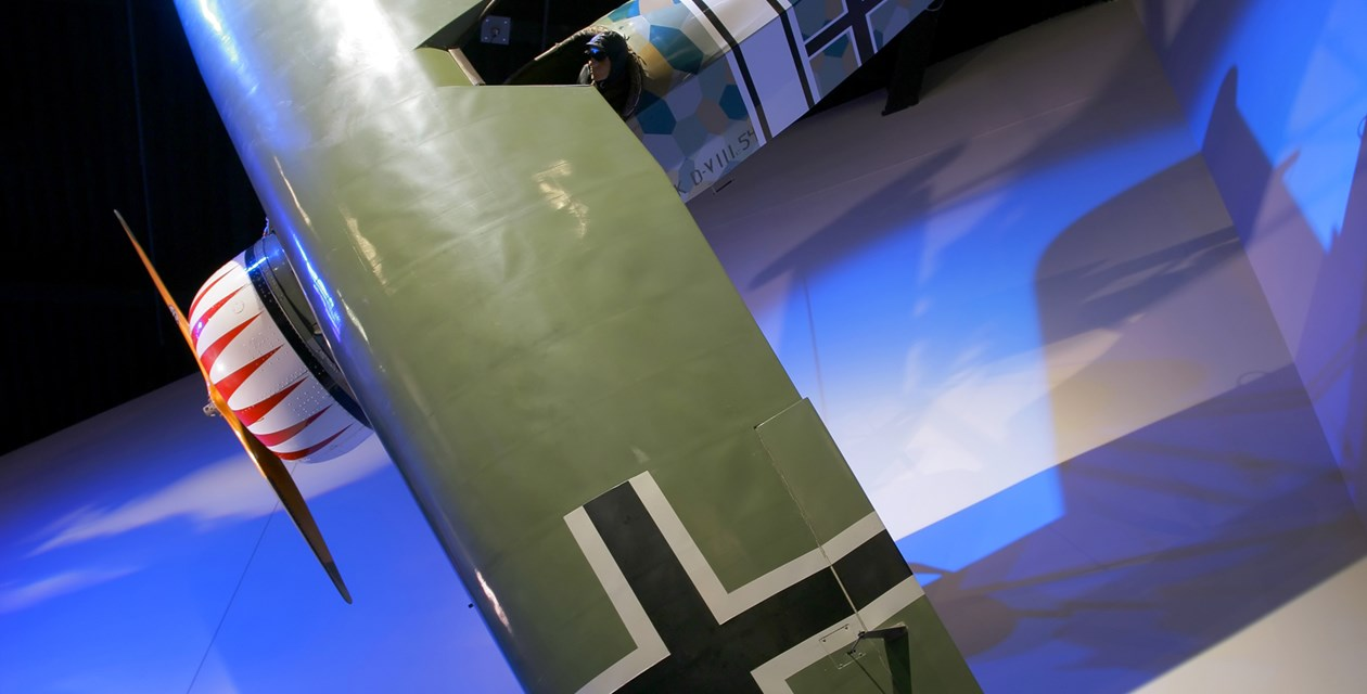 The Museum's Fokker D.VIII Reproduction on display in the Personal Courage Wing (Photo by Heath Moffatt)
