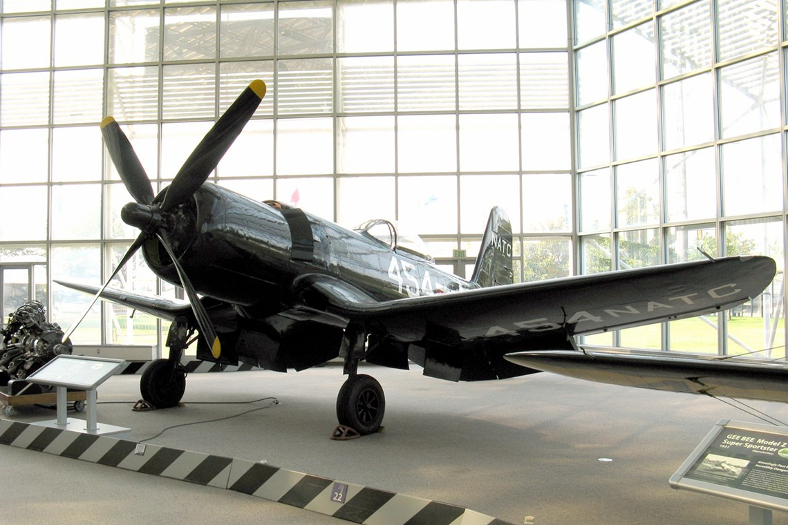 The Museum's Goodyear F2G-1 Super Corsair on display in the Great Gallery