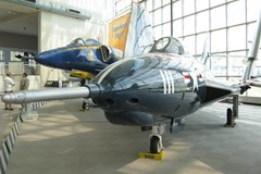 The Museum's Grumman F9F-8 (F-9J) Cougar on display in the Great Gallery