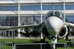 The Museum's Grumman A-6E Intruder on display on the South Lawn