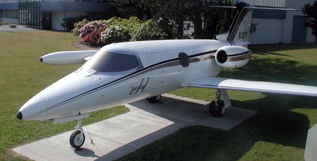 The Museum's Learjet 23 outside the Restoration Center