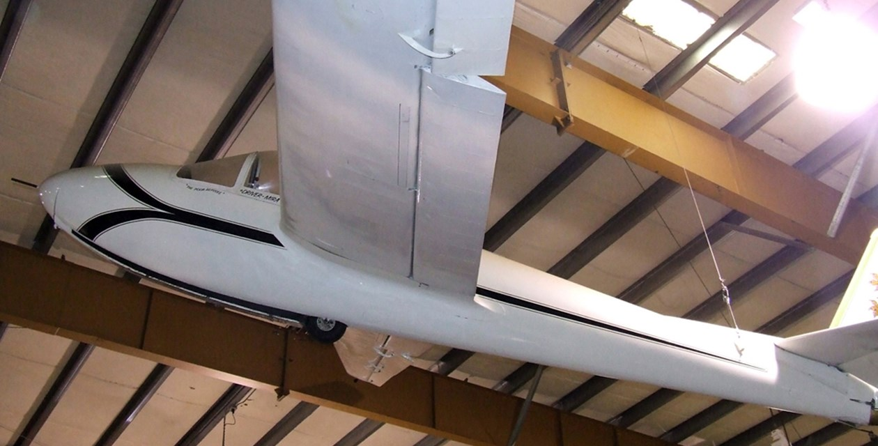 The Museum's Letov LF-107 Lunak Glider on display at the Restoration Center