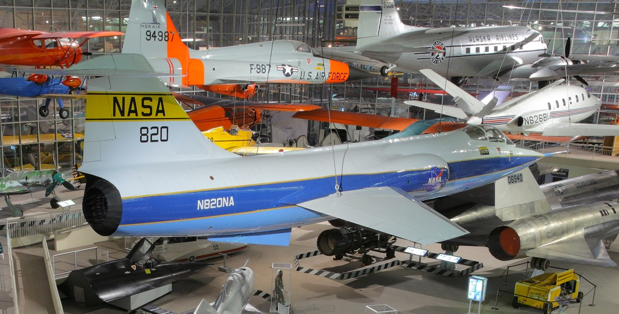 The Museum's Lockheed F-104C Starfighter on display in the Great Gallery (Photo by Heath Moffatt)