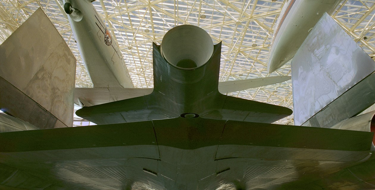 The Museum's Lockheed M-21 Blackbird on display in the Great Gallery (Photo by Heath Moffatt)