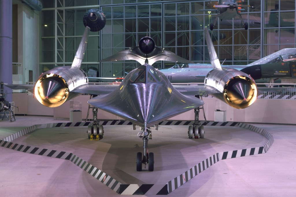 The Museum's Lockheed M-21 Blackbird on display in the Great Gallery