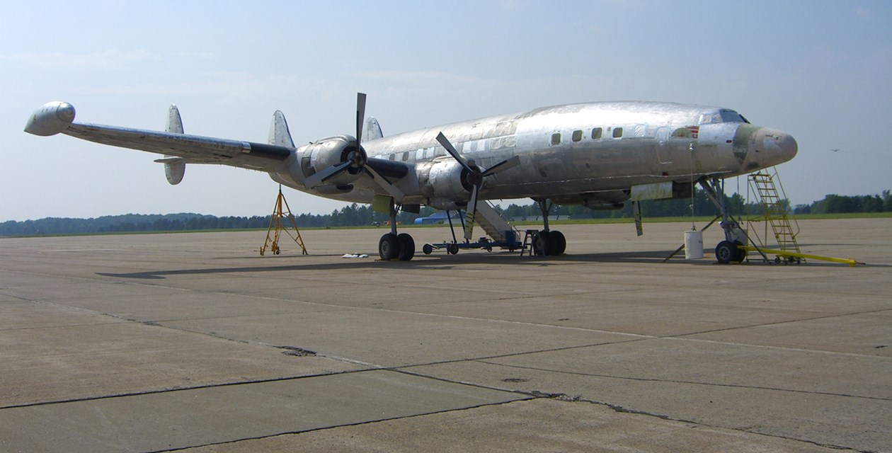 The Museum's Lockheed 1049G Super Constellation before beginning the restoration process.