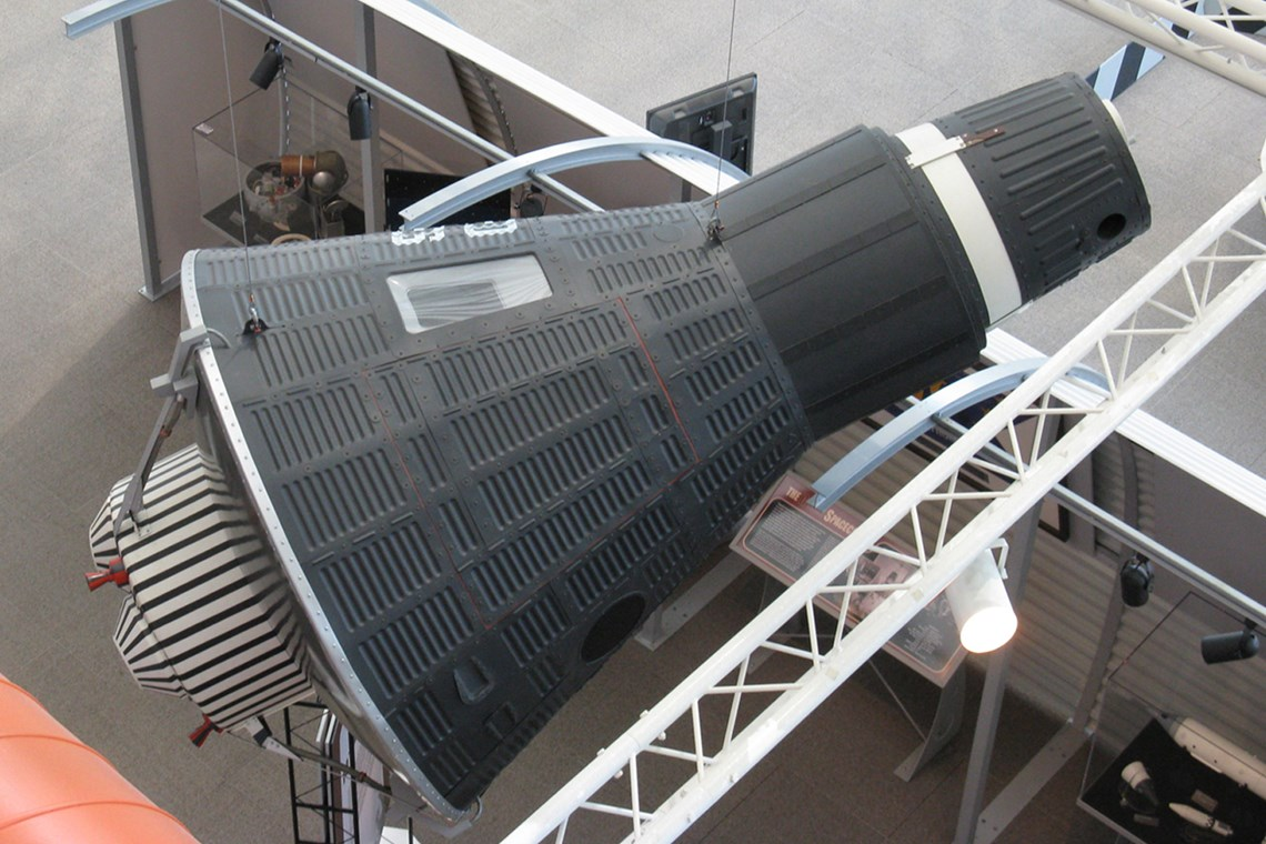 The Museum's McDonnell Mercury Capsule Reproduction on display in the Lear Gallery